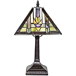 "15.5"" H Stained Glass Mission Style Santa Fe Table Lamp"