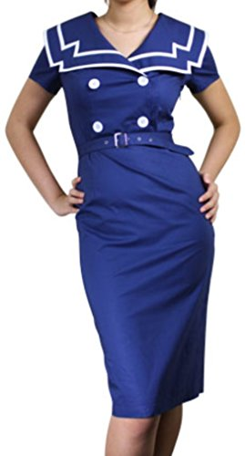 "CS ""Nautical Nancy"" 40s 50s Sailor Navy Vintage Style Pencil Dress (Small, Blue)"