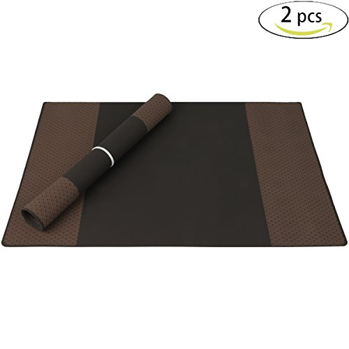 Silicone Placemats for Dining Table, Stain Resistant Silicone Table Mats, Waterproof Kitchen Placemats, Heat resistant Silicone Baking Mat by Bakingfun (Black+Dark Brown, Set of 2)