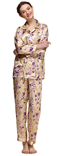 Women's Pure Mulberry Silk Pajama Set Long Sleeve Printed Floral Classic Luxury Sleepwear XL by GuBarby Silk