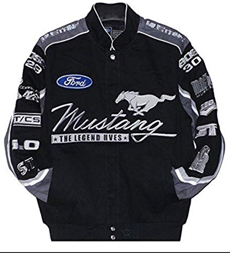 2017 Ford Mustang Collage Mens Black Twill Jacket by JH Design (2XL)
