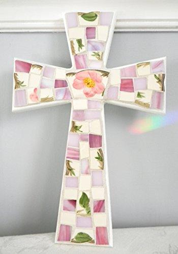 Vintage Desert Rose Large Mosaic Cross - Broken China - Stained Glass Art (Rose Broken China Mosaic)