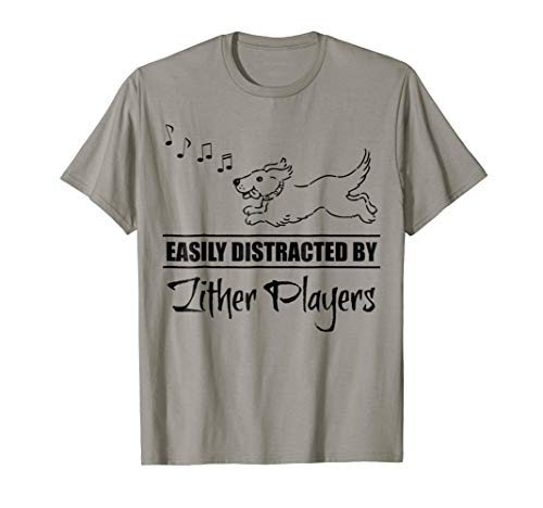 Running Dog Easily Distracted by Zither Players Music Notes T-Shirt