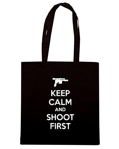 T-Shirtshock - Bolsa para la compra TM0469 keep calm and shot first Negro