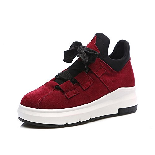 Frosted Shoes Increased Sneakers Casual RED NSXZ Woman's 38 Shoes Leather 0xYgnq5Wp