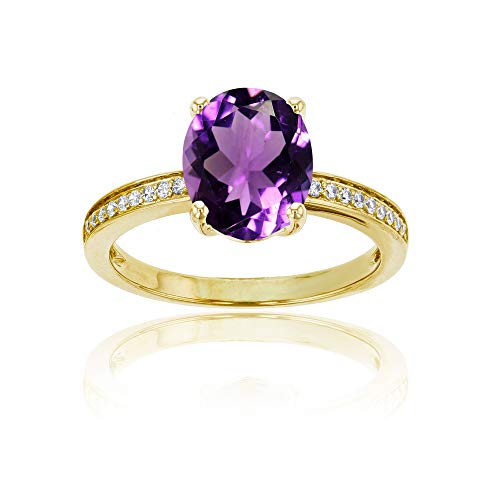 - 10K Yellow Gold 0.10 CTTW Round Diamond Channel Set & 10x8 Oval Amethyst Engagement Ring