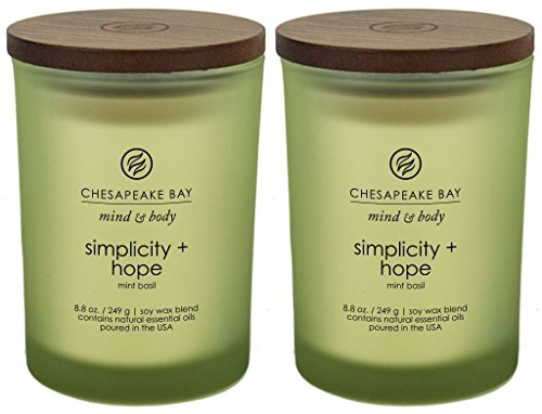 - Chesapeake Bay Candle Mind & Body Scented Candles, Simplicity + Hope (Mint Basil), Medium, 2 Count