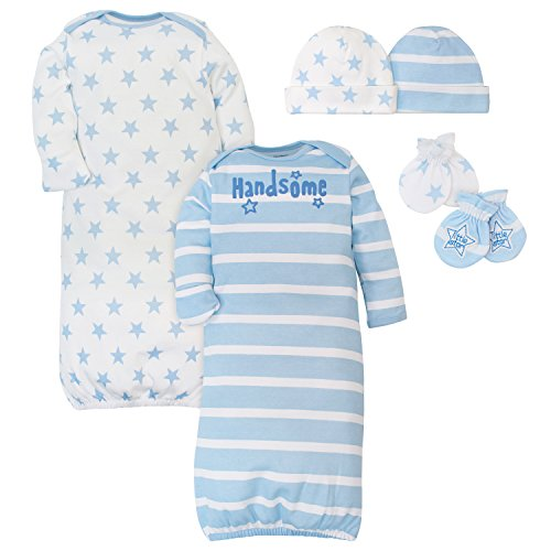 Set Piece 3 Mitten (Gerber Baby Boys' 6-Piece Gown, Cap and Mitten Set, Prince, 0-6 Months)