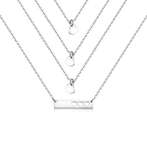 (AKTAP Daughter Gifts Mother Daughter Necklace Cubic Zirconia Love Pendant Necklace (Mother & 3 Daughter Silver))