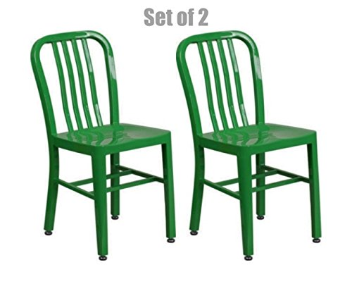 Classic Industrial Style Metal Frame School Restaurant Dining Chair Indoor Outdoor Furniture Green #1062 by Koonlert@shop