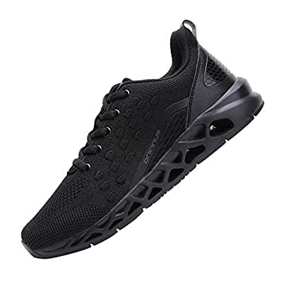 TSIODFOmen Sport Trail Running Shoes mesh Breathable Comfort Athletic Walking Shoes Man Gym Jogging Fashion Casual Tennis Trainers All Black Size 6.5(H1901-all black-39)