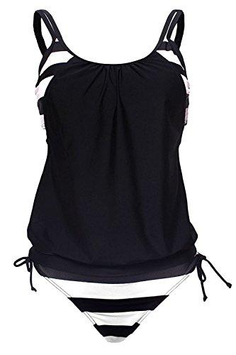 Camellias Women's Sporty Stripes Lined Up Double Up Tankini Halter Boyshort Two Piece Bikini Set Swimsuits, SZ9021-Black-XL