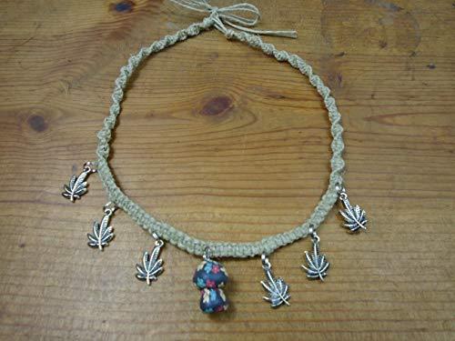 BEACH HEMP JEWELRY Mushroom Choker Necklace Adjustable Handmade In USA ()