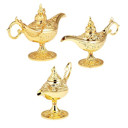 Jili Online 3 Pieces Gold Metal Genie Oil Lamp Aladdin Arabian Men Women Fancy Dress Party Panto (Arabian Party Decorations)