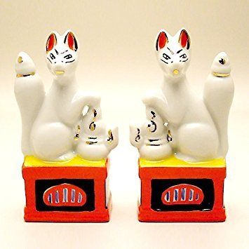 Inari Shinto Shrine Sacred Foxes Pair Miniature from Japan