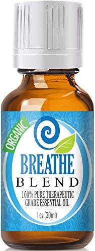 Дышите (органические, 30мл) 100% Pure, лучших лечебно-класс - (Мята, розмарин, лимон и эвкалипт наложения - Сопоставимые Doterra дышать, Young Living Ворон, Идена Выдох, вдох, органов дыхания и Sinus помощи - Breathe Easy / легче)