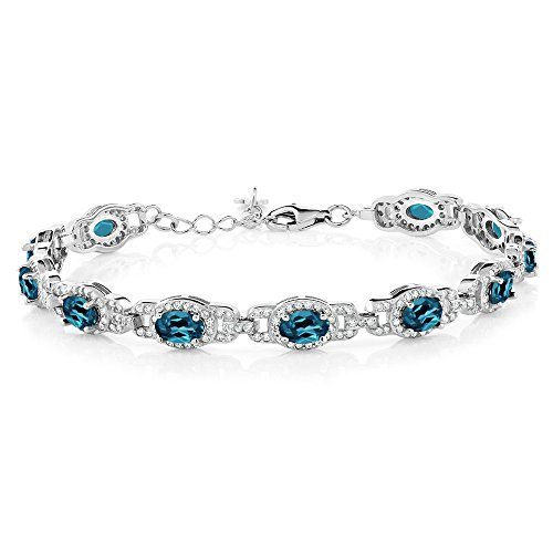 Gem Stone King 9.65 Ct Oval London Blue Topaz Gemstone Birthstone 925 Sterling Silver 7 Inch Bracelet With 1 Inch Extender 7inches with 1inches Extender