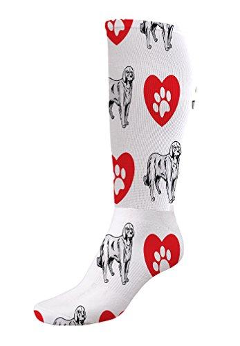 Funny Knee High Socks Akbash Dog Heart Paws Tube Socks Women & Men 1 Size 4