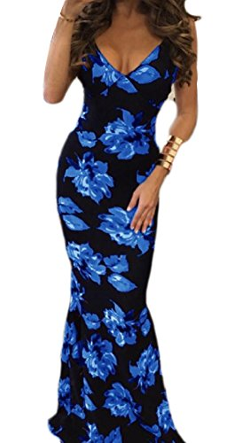 Backless Neck Spaghetti Zip Strap Dress V Printed Coolred Blue Long Women Deep WqSII7