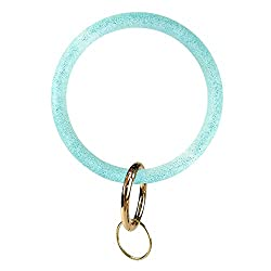 Silicone Bangle Key Ring Bracelet Key Rings, Round Keyring Circle Key Ring Holder for Women Girls Ideal Gifts (Blue Flash Green 2)