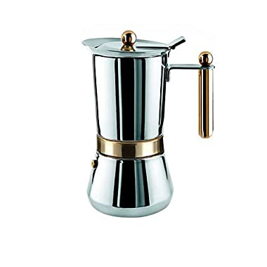 Vev-Vigano Vespress Oro 4-cup Stainless Steel Stovetop Espresso Maker