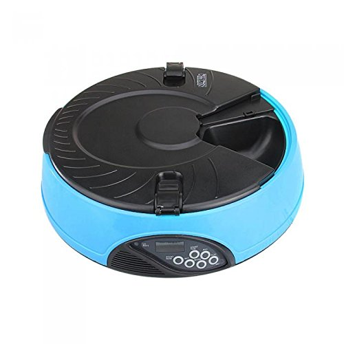 Automatic Pet Feeder, PETFLY /PYRUS Pet Feeder Separate Compartments Food Trays Secure Locked Programmed Feeder for Pets (Blue)