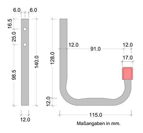 Tragkraft 30 kg Universal-Haken die Wand-montage 4 St/ück 115 x 140 mm Gedotec Wandhaken Werkstatt Montagehaken Garage Allzweckhaken aus Stahl Ger/ätehaken Halterung Stahl verzinkt