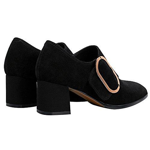 Bloc Boucle Chaussures Femme Suède Escarpins Talon Noir Mode Rismart 0wIxqfEw