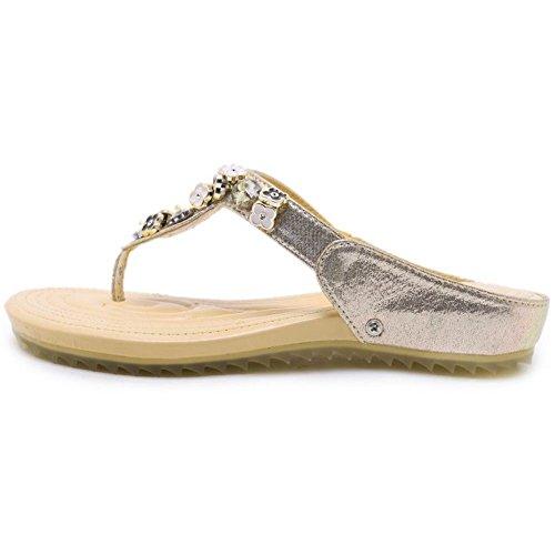 4 Fashion Toe Women Sandals TAOFFEN Gold Slides Clip XwURfq5n05