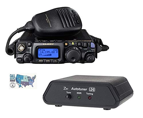 Yaesu FT-818 Radio and Accessory Bundle - 3 Items - Includes FT-818 HF/VHF/UHF All-Mode Portable QRP Transceiver, LDG Z-817 Automatic Antenna Tuner, and Ham Guides TM Quick Reference Card (Best Antenna For Ft 817)