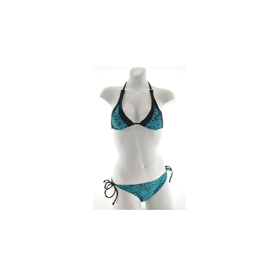 Womens Two piece halter bikini swimwear with removable padding   Style G (3188, Teal, L)