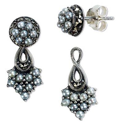 French Twist 2 in 1 Stud and Drop Cultured Seed Pearl Sterling Silver Earrings - Vintage Collection ()