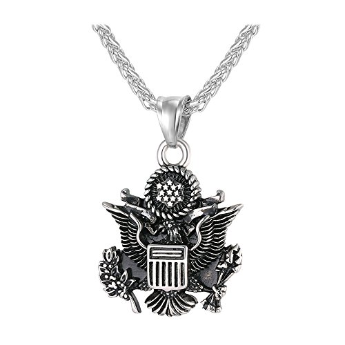 U7 Men Pendant with 3MM Wheat Chain Stainless Steel American Style Black Enamel Vintage Great Seal of The United States ()