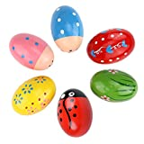 Bondream Set of 6 Lovely Pattern Egg Shaker Set Percussion Musical Maracas Eggs Child Kids Toys(Random Color)