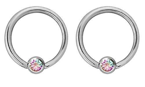 Pair of 14g 12mm Every-Day Surgical Steel Aurora Borealis Jeweled Captive Bead Ring Body Piercing Hoops