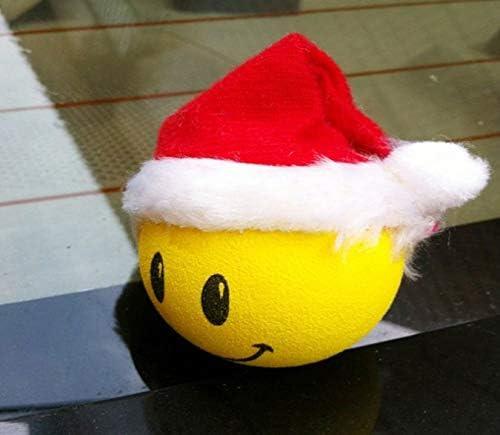 IUYTRFGGFH Christmas Hat Smile Doll Car Antenna Topper Ball Aerial Ball Anti-Collision Sticker Balls