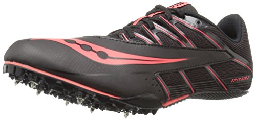 Saucony Men's Spitfire 4 Track Shoe, Black/Red, 9.5 M US
