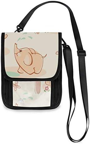 トラベルウォレット ミニ ネックポーチトラベルポーチ ポータブル 象柄 可愛い 子象 小さな財布 斜めのパッケージ 首ひも調節可能 ネックポーチ スキミング防止 男女兼用 トラベルポーチ カードケース