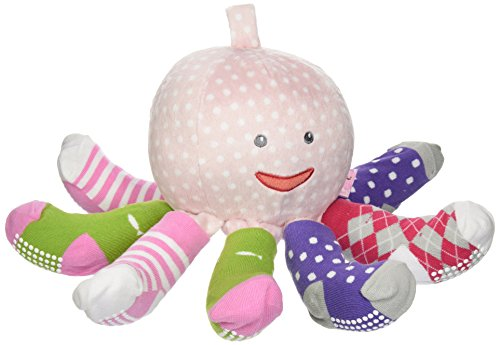 Giraffe Polka Dot Blankets - Baby Aspen, Mrs. Sock T. Pus Plush Octopus with 4 Pairs of Socks, Pink, 0-6 Months