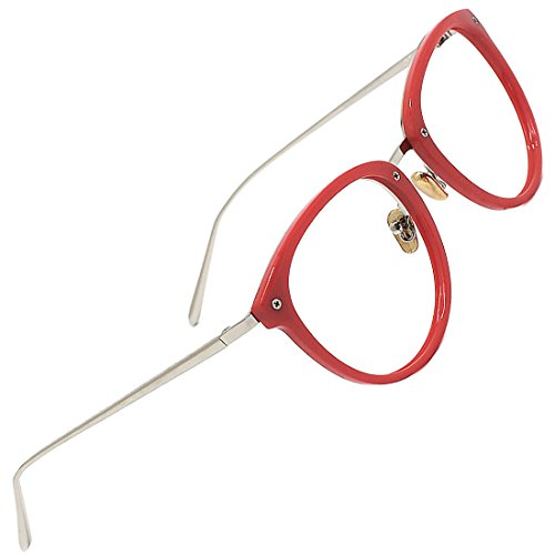 TIJN Vintage Optical Eyewear Non-prescription Eyeglasses Frame with Clear Lenses (Red, - Prescription Glasses Frames Red