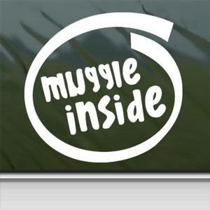Muggle Inside White Sticker Decal Car Window Wall Macbook Notebook Laptop Sticker Decal