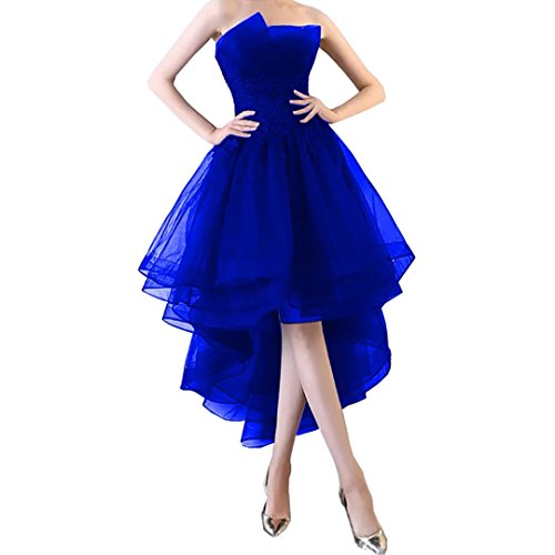 Chady Strapless Navy Blue High Low Prom Dresses 2018 Applique Lace Tulle Short Homecoming Dresses Party Gowns by Chady