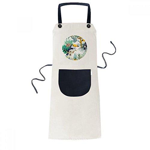 - DIYthinker Watercolor Toucan Shrub Pineapple Parrot Apron Cooking Bib Black Kitchen Pocket Women Men