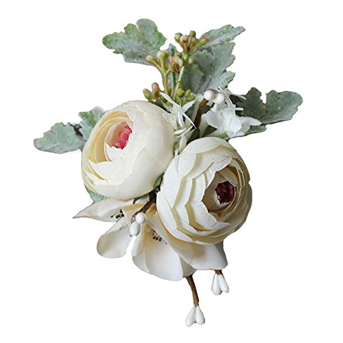 - USIX 2pc Pack-Handmade Satin Tea Rose Peach Blossom Boutonniere Pin Brooch for Suit Wedding Groom Groomsmen Brooch Rose Boutonniere(White)