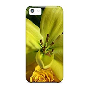 Awesome Green Lillium Flip Case With Fashion Design For Iphone 5c
