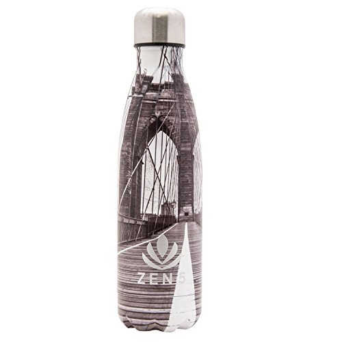 Zen 5 Water Bottle-1 Pack-Brooklyn Bridge Classic Design (1 Bridge Brooklyn)