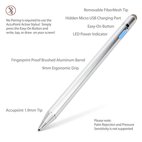 "HP Pavilion x360 Convertible 2-in-1 (15.6"") Stylus Pen, BoxWave [AccuPoint Active Stylus] Electronic Stylus with Ultra Fine Tip for HP Pavilion x360 Convertible 2-in-1 (15.6"") - Metallic Silver"