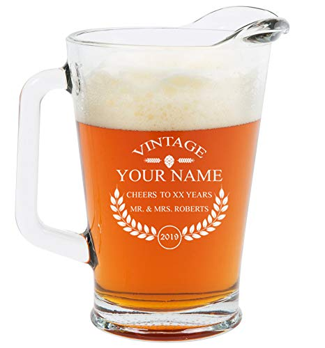 Personalized Beer Glass - Custom Engraved Beer Mug, Pint Glass, Pilsner Glass, Pitcher. | Add your own Engraved Text - Vintage Design (Pitcher 60oz)