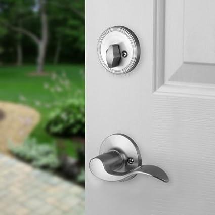 Dynasty Hardware RID-HER-100-15R Ridgecrest Front Door Handleset Right Hand Satin Nickel With Heritage Lever