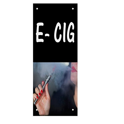 E Cig With Machine And Fog Double Sided Vertical Pole Banner Sign 30 in x 60 in w/ Wall Bracket